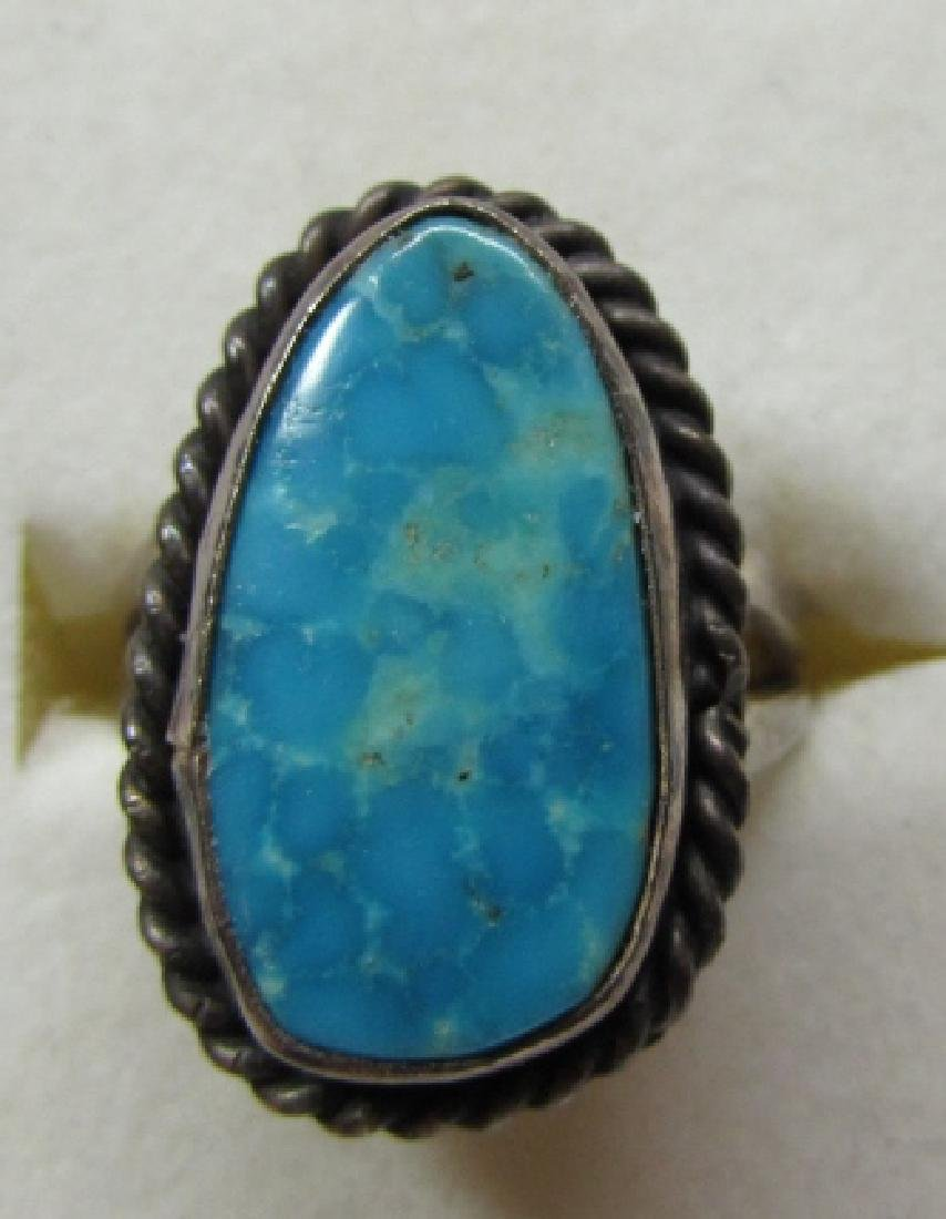 GEM TURQUOISE RING STERLING SILVER SIZE 7 NAVAJO