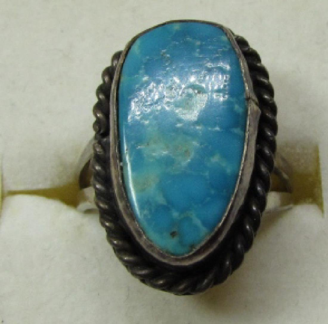 GEM TURQUOISE RING STERLING SILVER SIZE 7 NAVAJO - 2