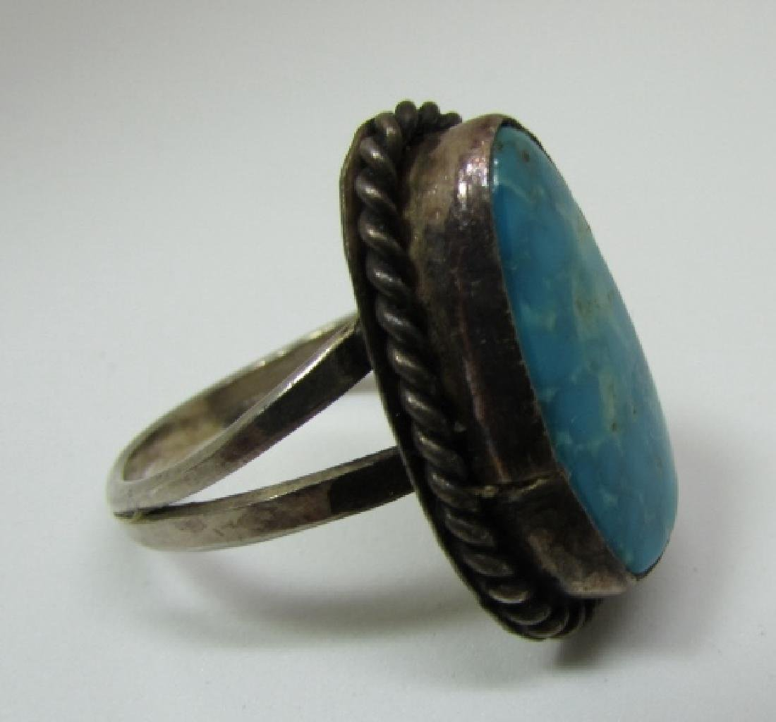 GEM TURQUOISE RING STERLING SILVER SIZE 7 NAVAJO - 5