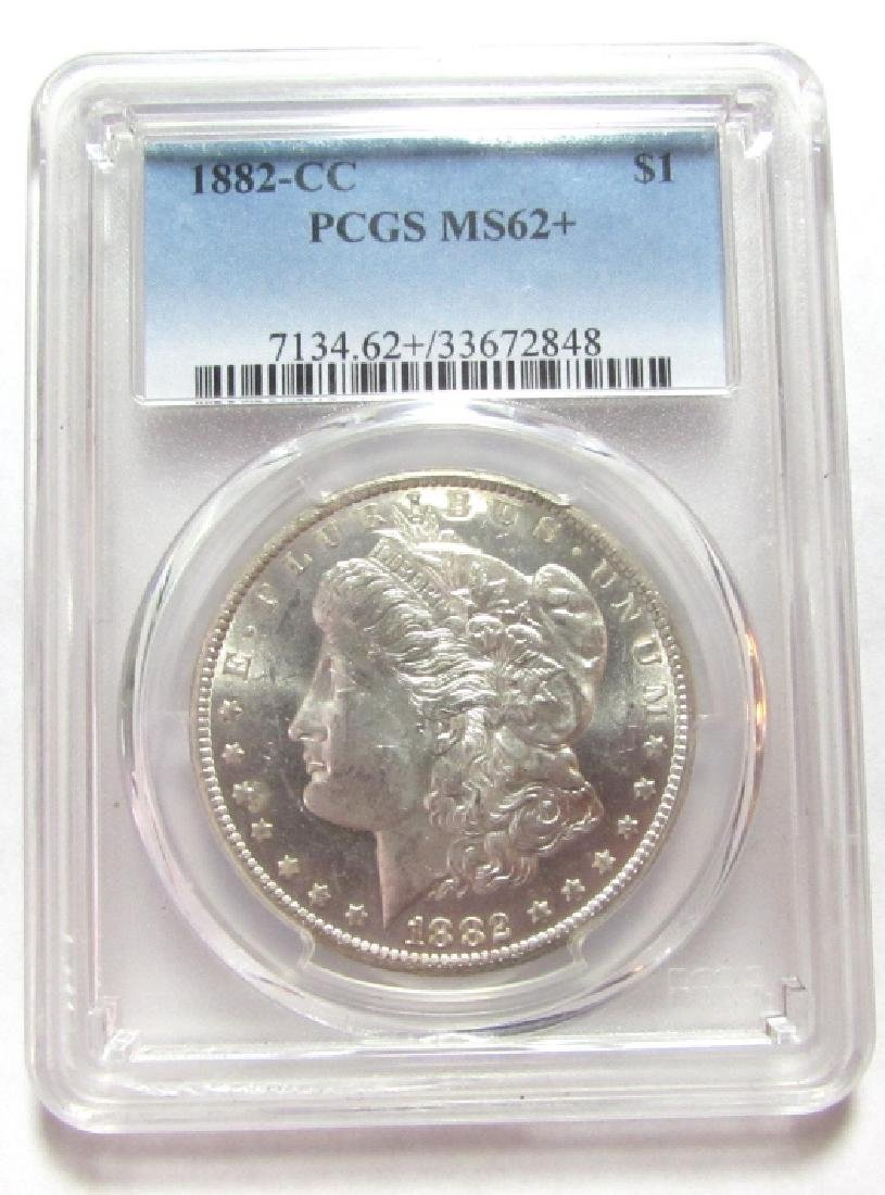 1882 CARSON CITY PCGS MS 62+ MORGAN SILVER DOLLAR