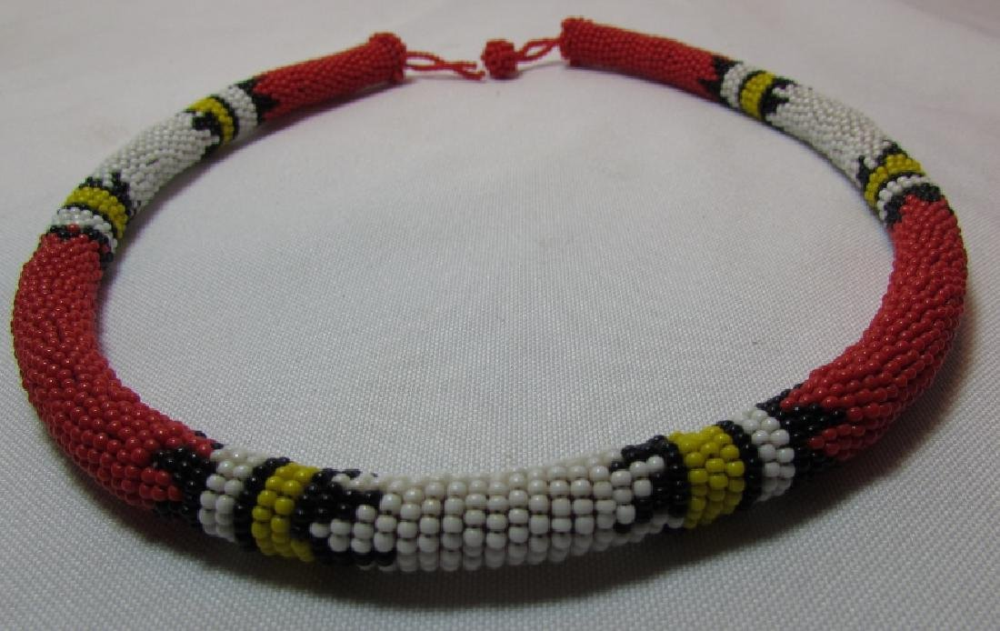 FAB RED 10MM BEADWORK NECKLACE 20""