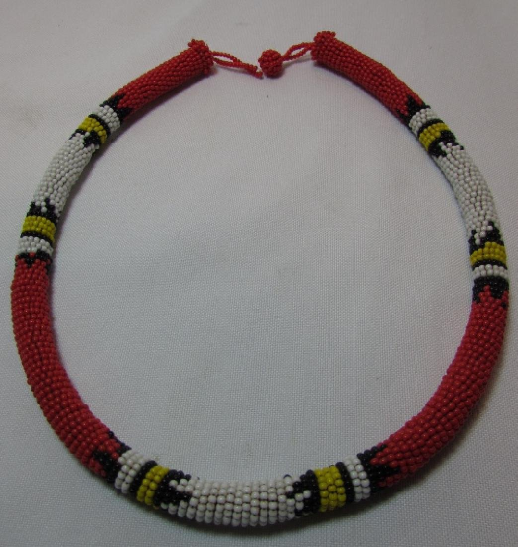 "FAB RED 10MM BEADWORK NECKLACE 20"" - 2"