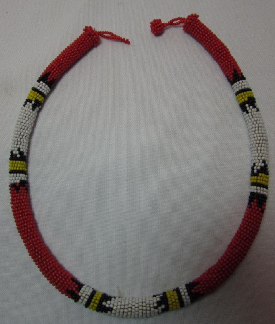 "FAB RED 10MM BEADWORK NECKLACE 20"" - 3"