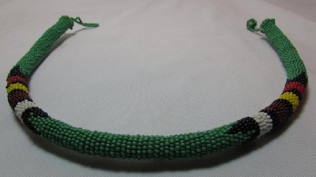 """FAB GREEN 10MM BEADWORK NECKLACE 18.5"""" - 2"""