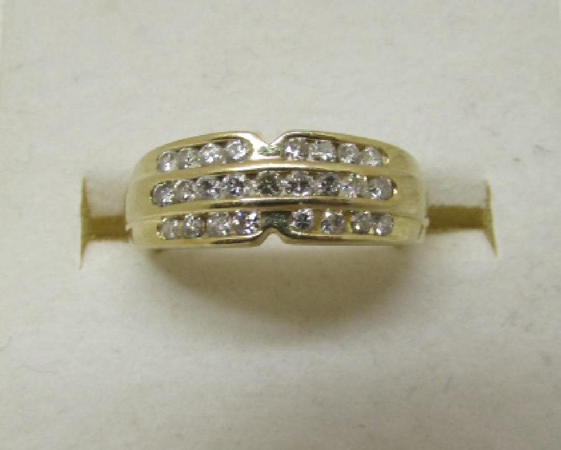 .50CT DIAMOND 3 ROW BAND RING 14K GOLD SIZE 6