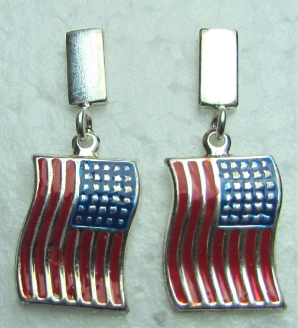 FLAG EARRINGS STERLING SILVER USA AMERICA PATRIOT
