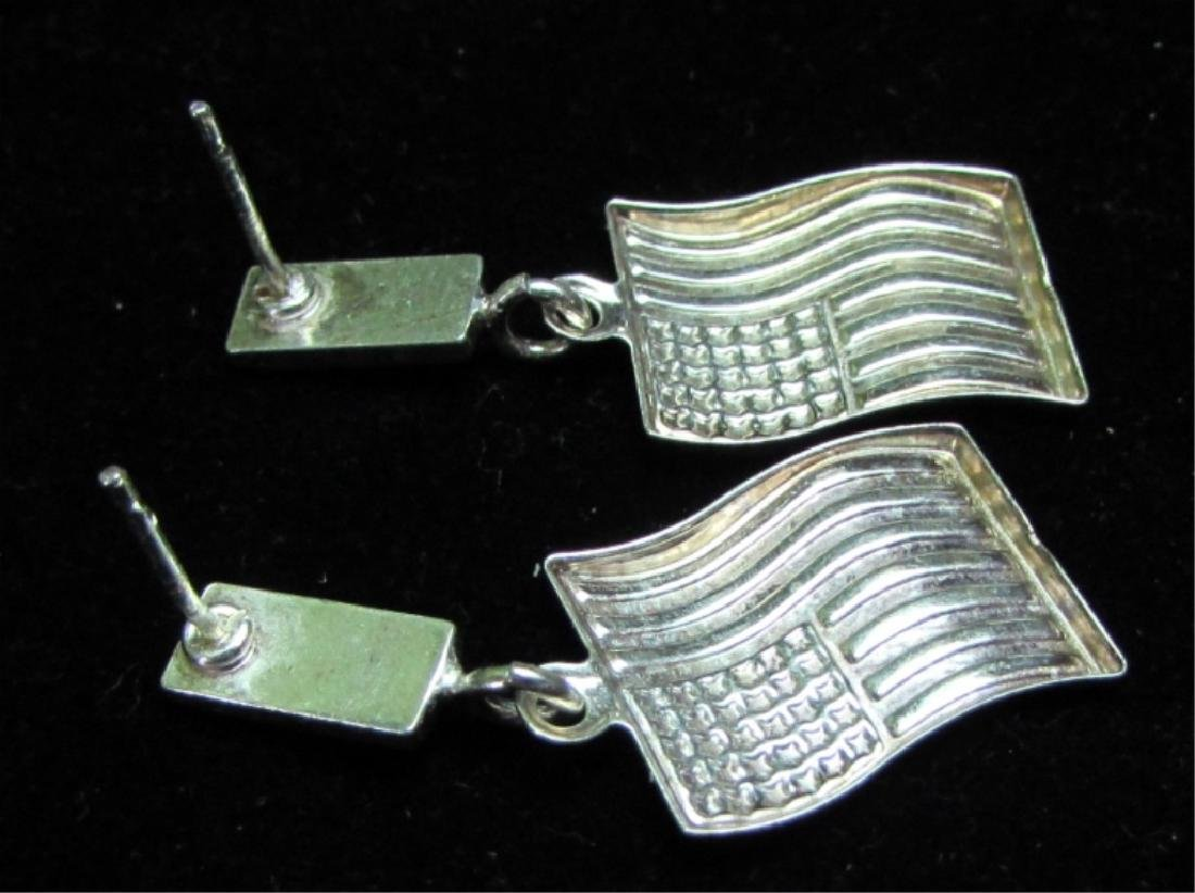 FLAG EARRINGS STERLING SILVER USA AMERICA PATRIOT - 2