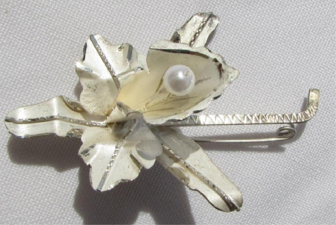 STERLING SILVER ORCHID PEARL BROOCH PIN FLORAL
