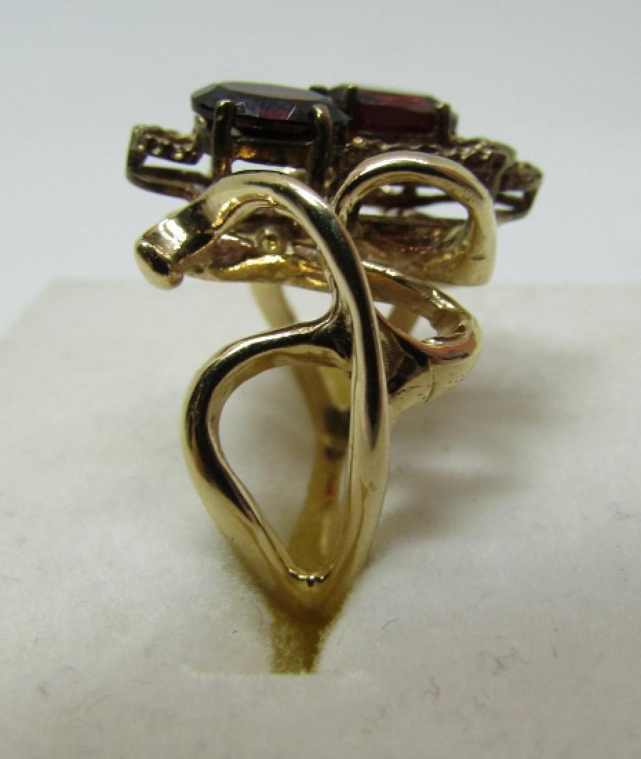 3CT GARNET RING 14K GOLD FREEFORM DESIGNER - 2