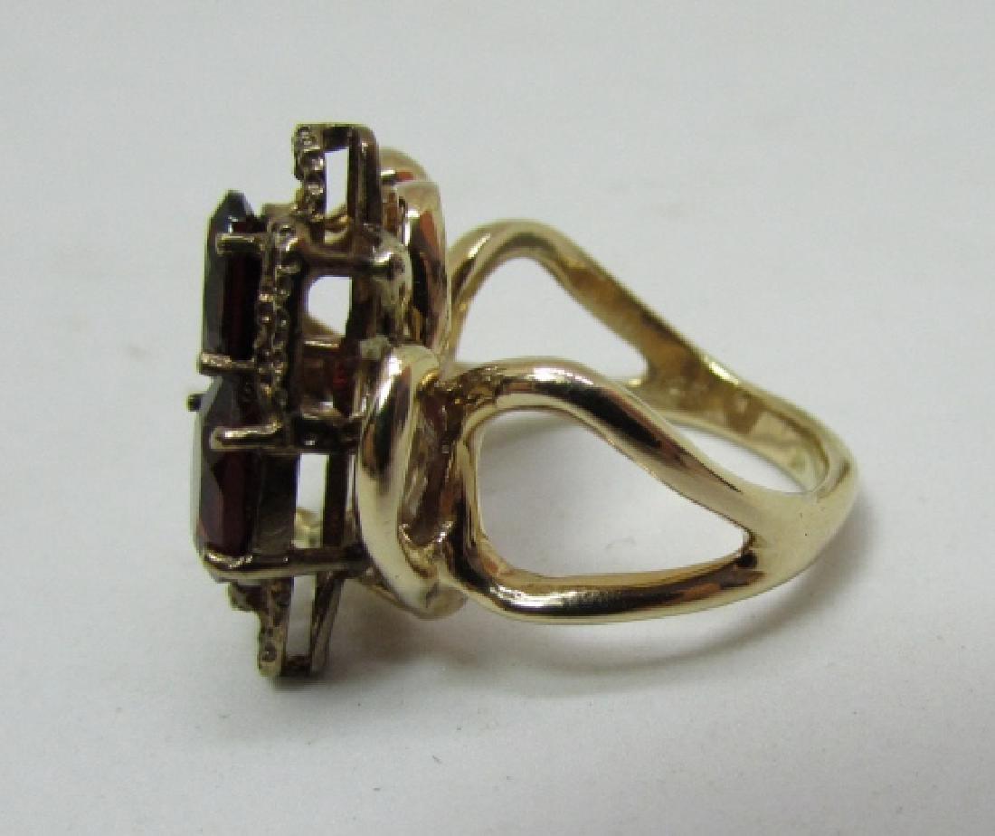 3CT GARNET RING 14K GOLD FREEFORM DESIGNER - 5