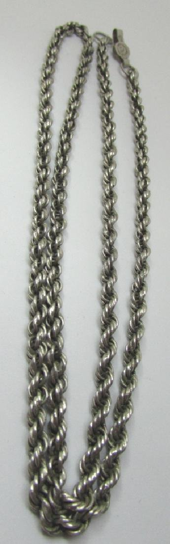 "TAXCO 28"" STERLING SILVER ROPE CHAIN NECKLACE 42GR"