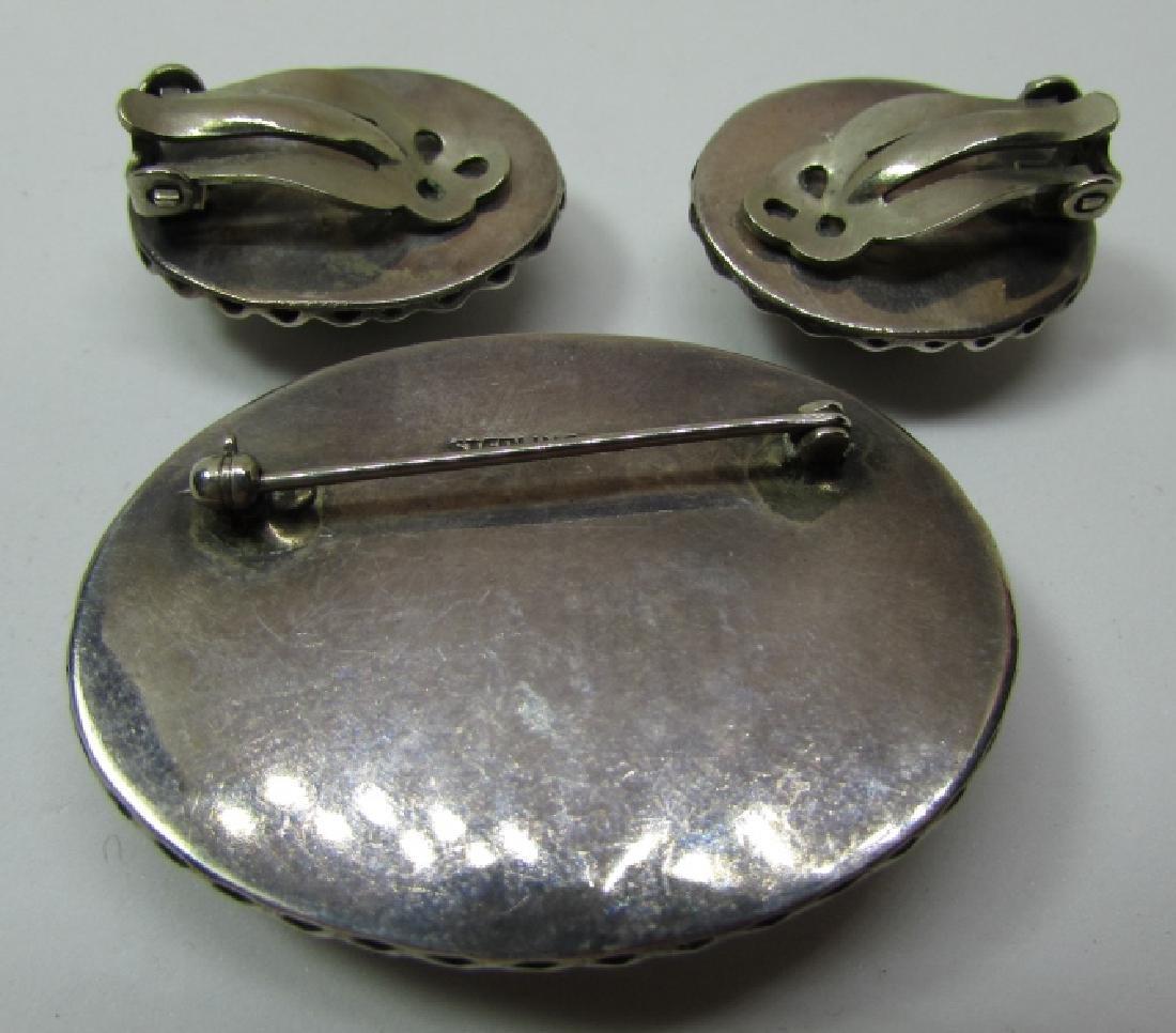 LANDSCAPE AGATE STONE PIN EARRING STERLING SILVER - 3