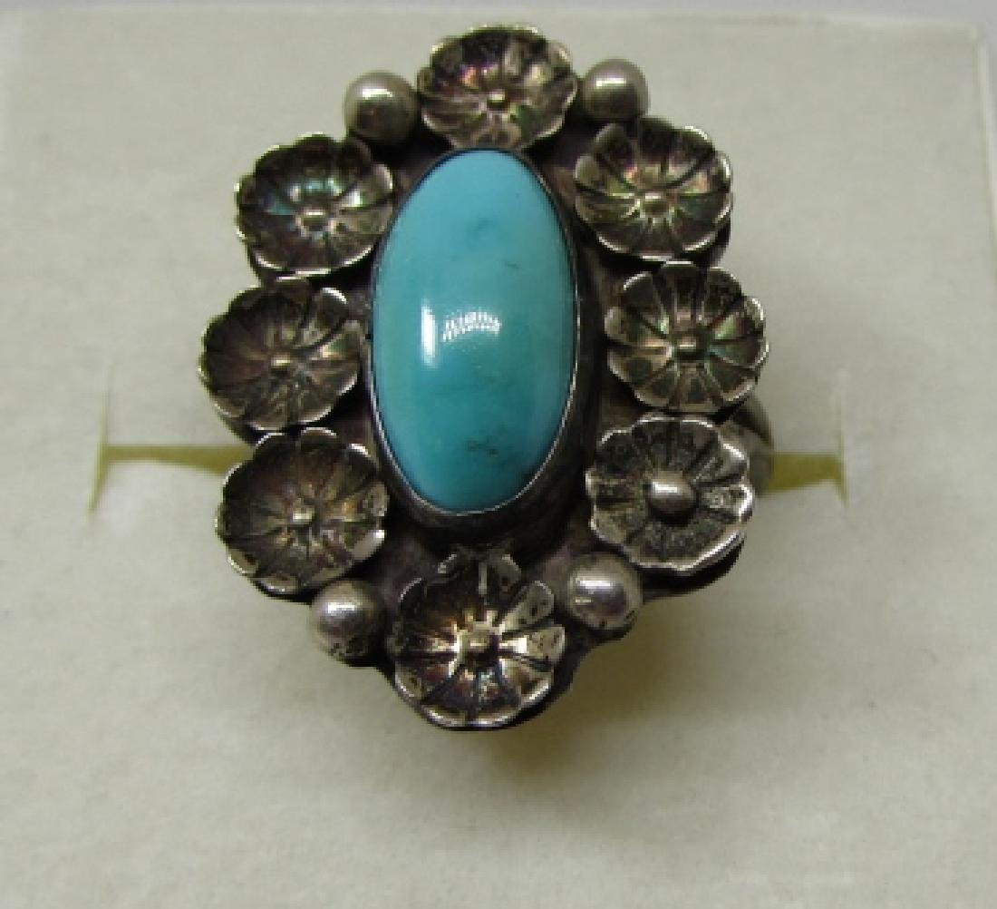 HTS / ATS TURQUOISE RING STERLING SILVER SIZ 6 1/2
