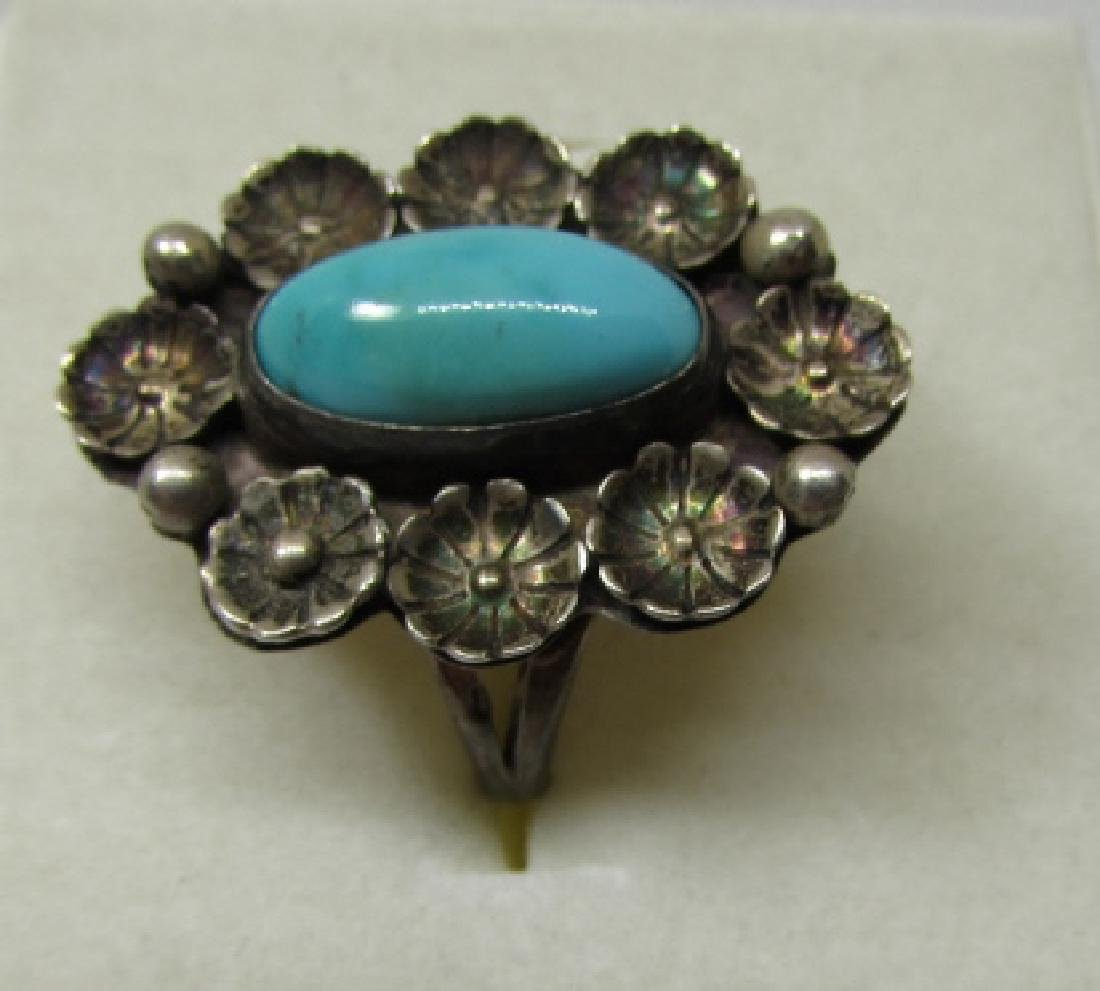 HTS / ATS TURQUOISE RING STERLING SILVER SIZ 6 1/2 - 2