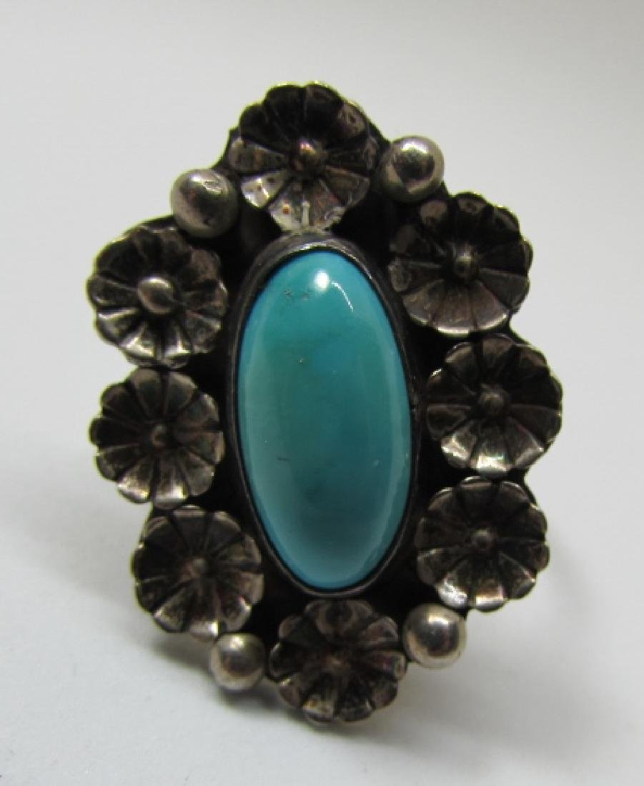 HTS / ATS TURQUOISE RING STERLING SILVER SIZ 6 1/2 - 5