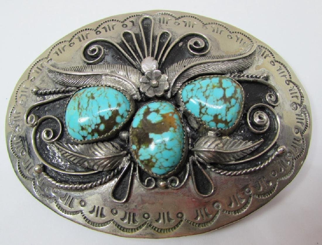 JERRY FRANCISCO TURQUOISE BELT BUCKLE STERLING
