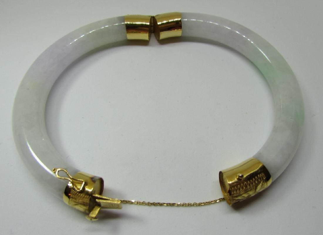 VARIEGATED JADE / JADEITE 14K GOLD BANGLE BRACELET - 2
