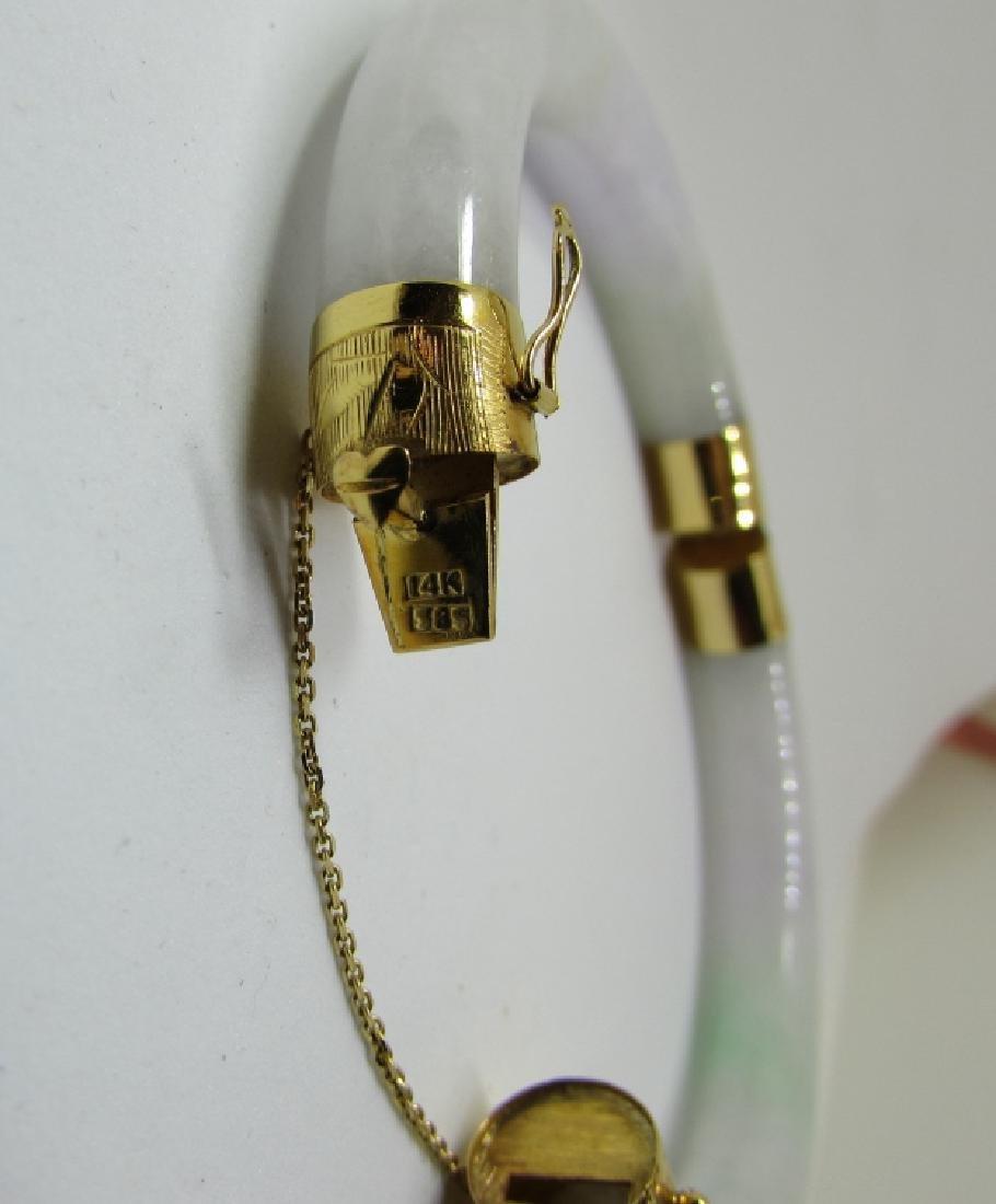 VARIEGATED JADE / JADEITE 14K GOLD BANGLE BRACELET - 3