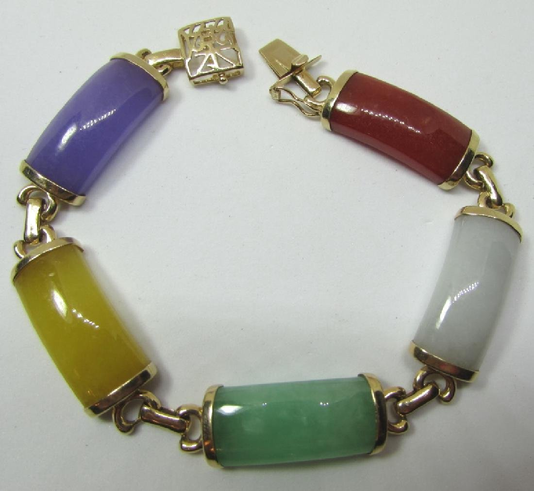 MULTI COLOR JADE BRACELET 14K GOLD 7 3/8""