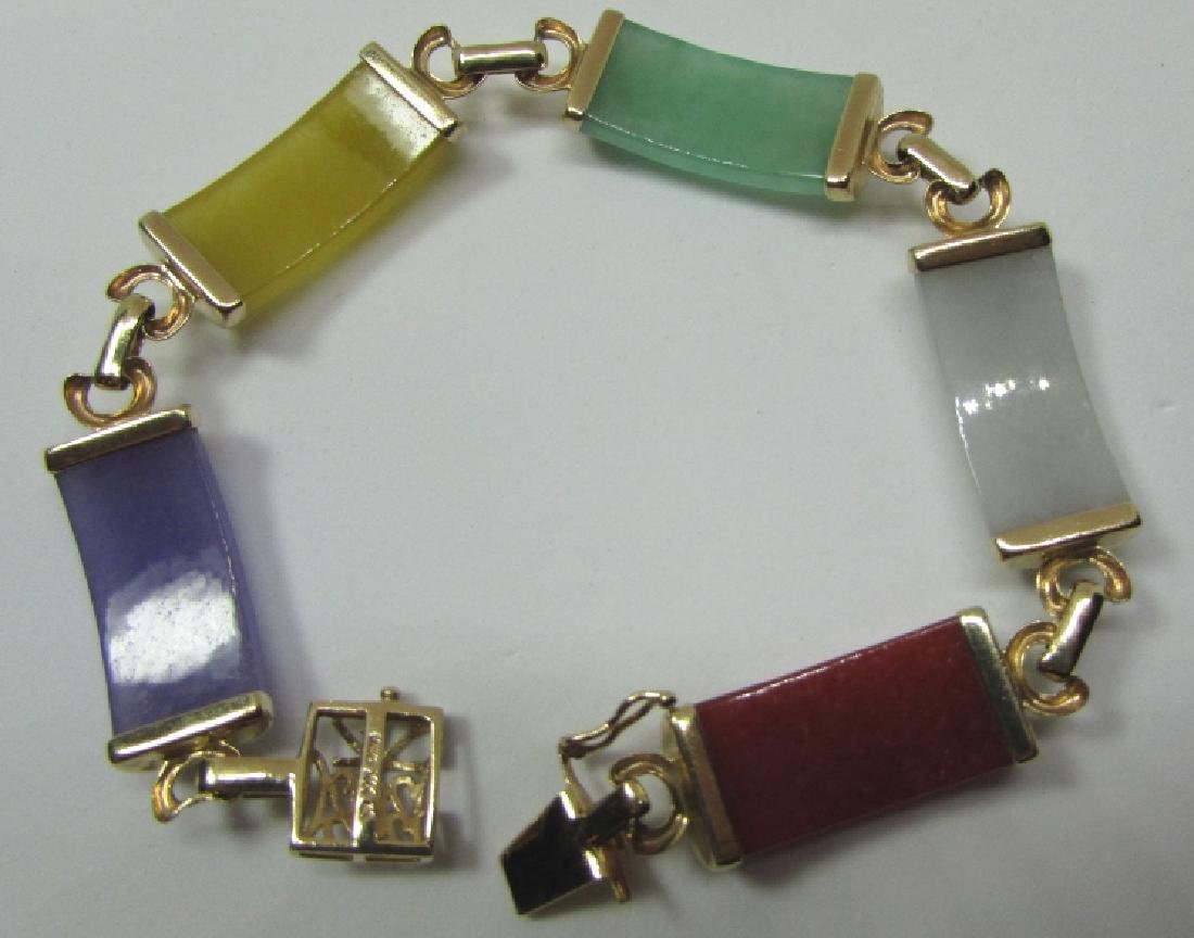 "MULTI COLOR JADE BRACELET 14K GOLD 7 3/8"" - 2"