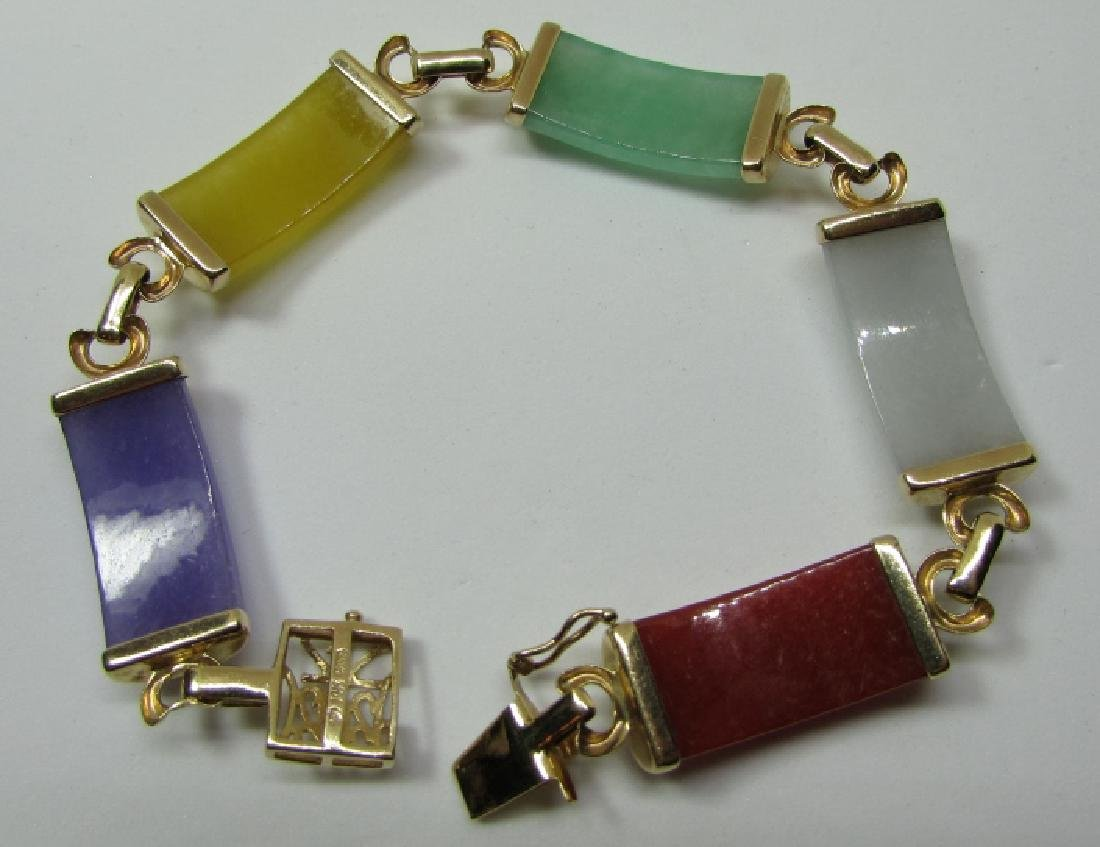 "MULTI COLOR JADE BRACELET 14K GOLD 7 3/8"" - 3"