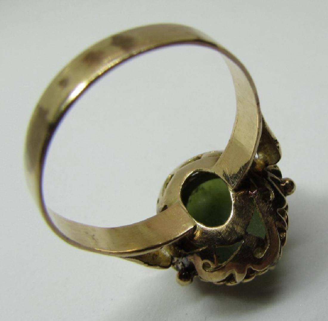 13MM X10MM GREEN JADE JADEITE RING 14K YELLOW GOLD - 6