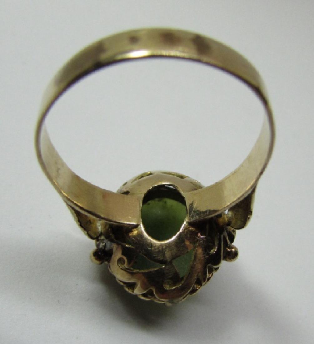 13MM X10MM GREEN JADE JADEITE RING 14K YELLOW GOLD - 7