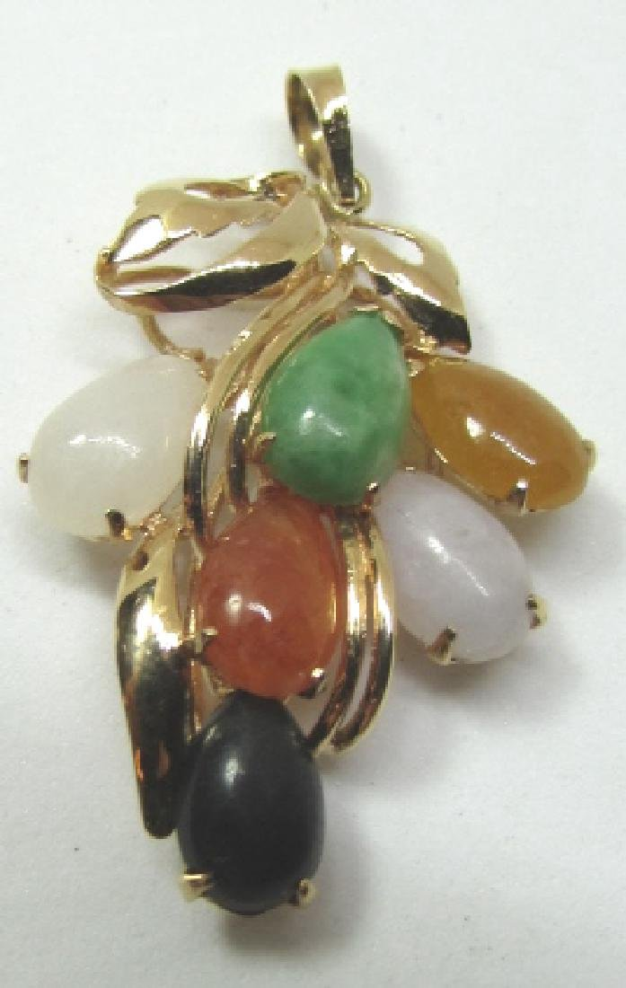 MULTI COLOR JADE NECKLACE PENDANT 14K GOLD
