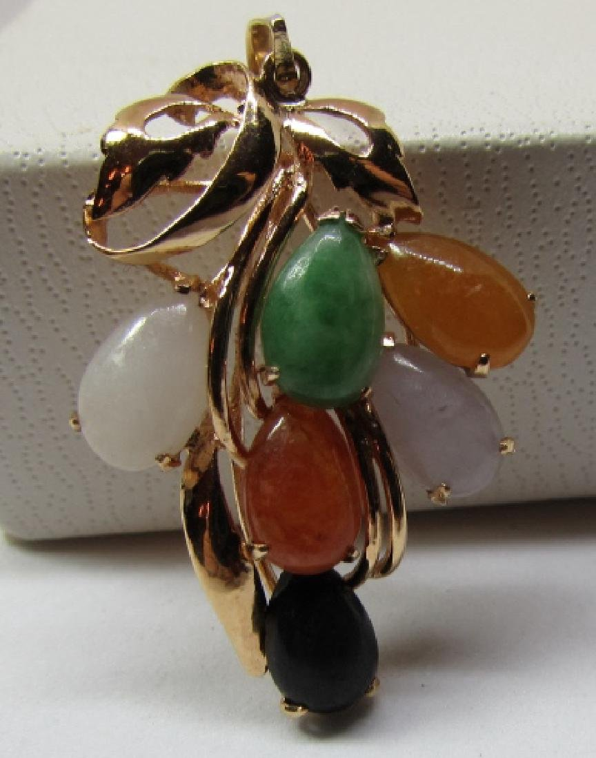 MULTI COLOR JADE NECKLACE PENDANT 14K GOLD - 3