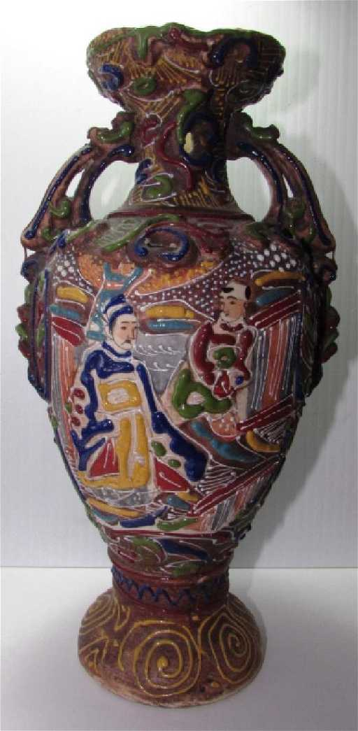 Japanese Satsuma Vase Meiji Period Moriage