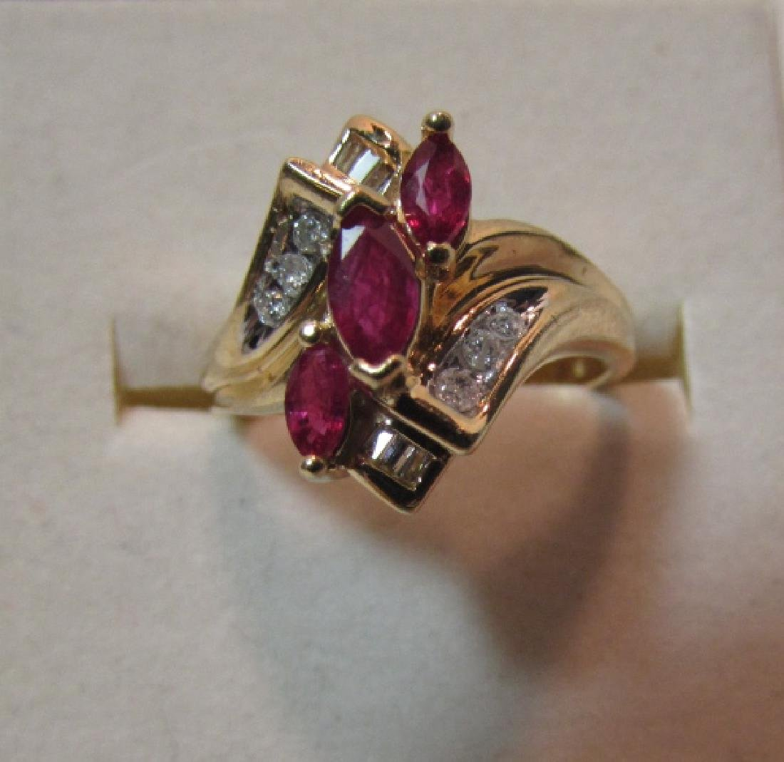 .75CT RUBY DIAMOND 14K GOLD RING SIZE 7