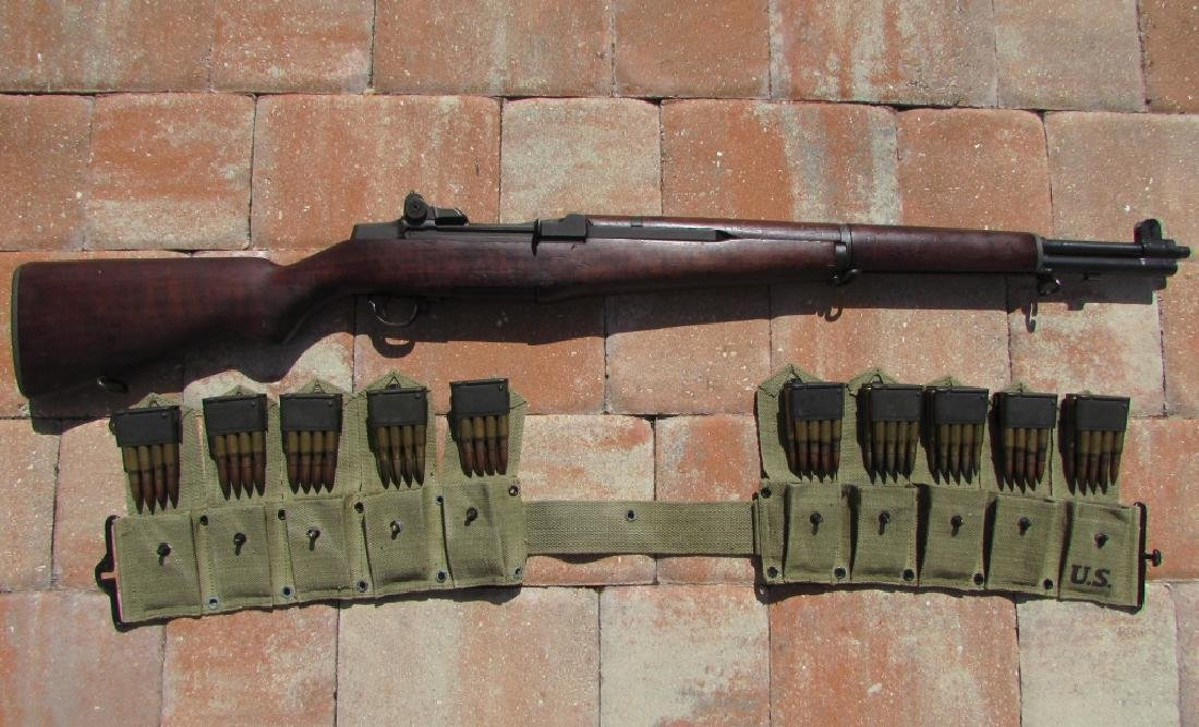 US WWII M1 GARAND 30 CAL RIFLE H&R AMMO CLIPS BELT