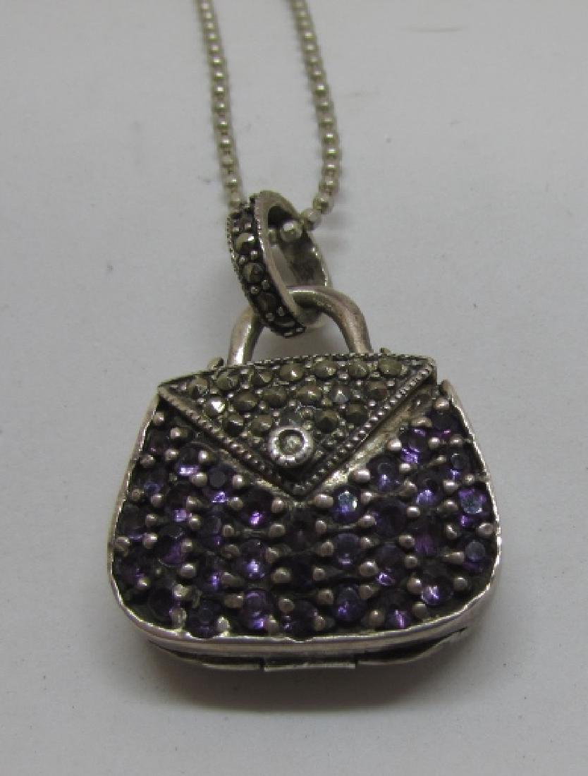 AMETHYST MARCASITE LOCKET STERLING SILVER NECKLACE