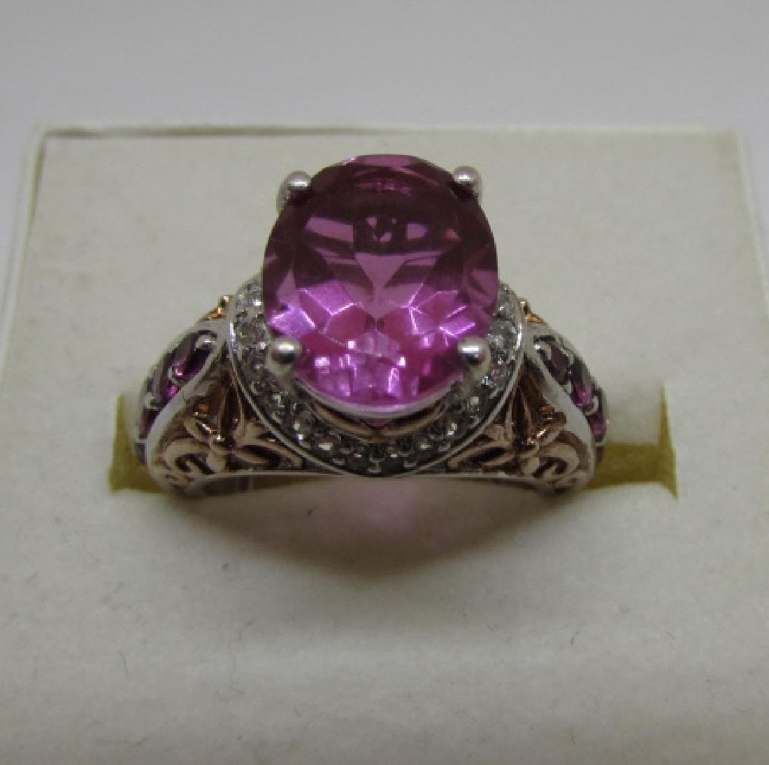 CZ PINK SAPPHIRE RUBY STERLING SILVER RING SIZE 6