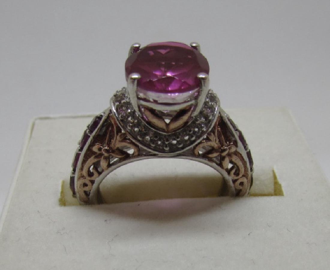 CZ PINK SAPPHIRE RUBY STERLING SILVER RING SIZE 6 - 2