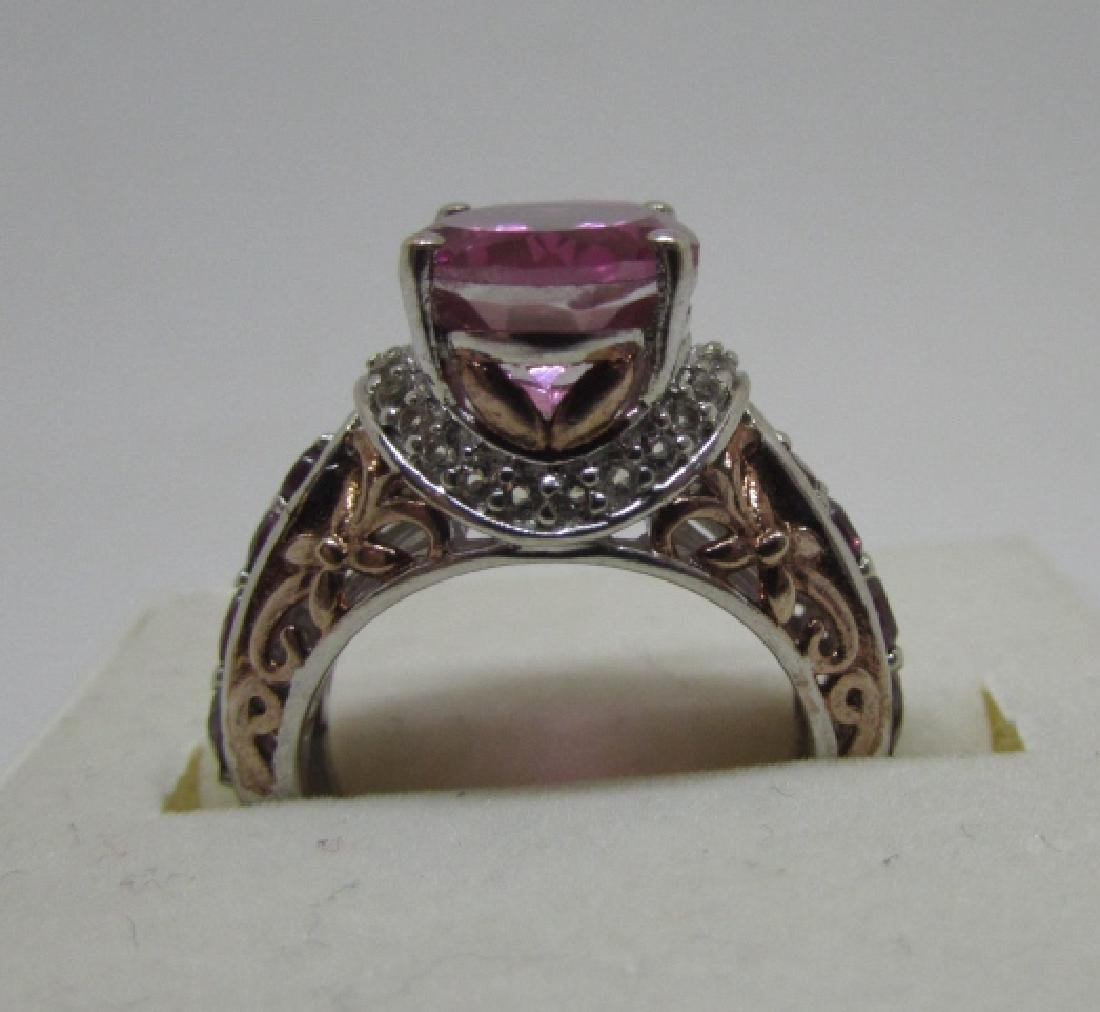 CZ PINK SAPPHIRE RUBY STERLING SILVER RING SIZE 6 - 3