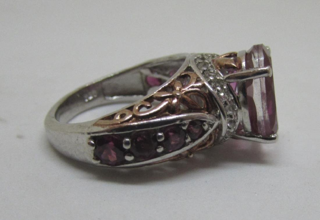 CZ PINK SAPPHIRE RUBY STERLING SILVER RING SIZE 6 - 4