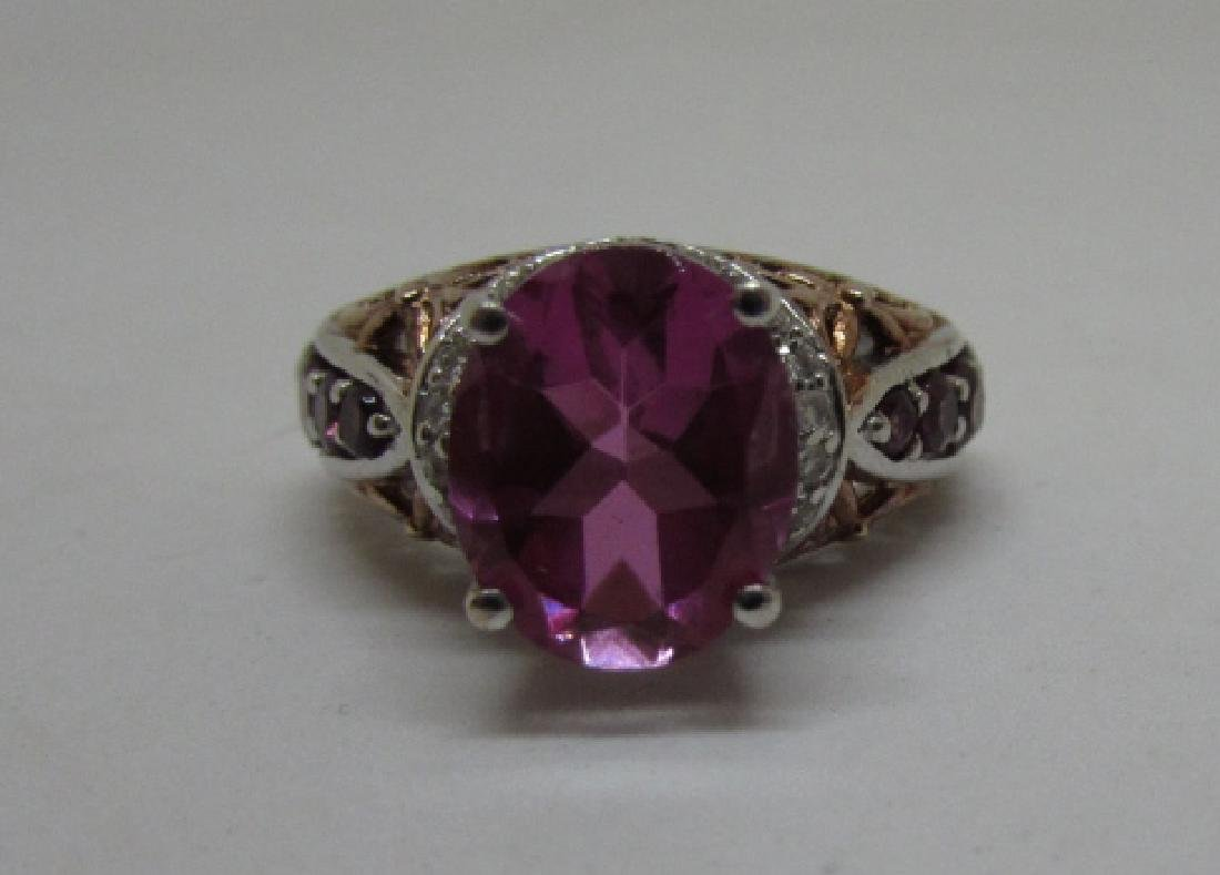 CZ PINK SAPPHIRE RUBY STERLING SILVER RING SIZE 6 - 5