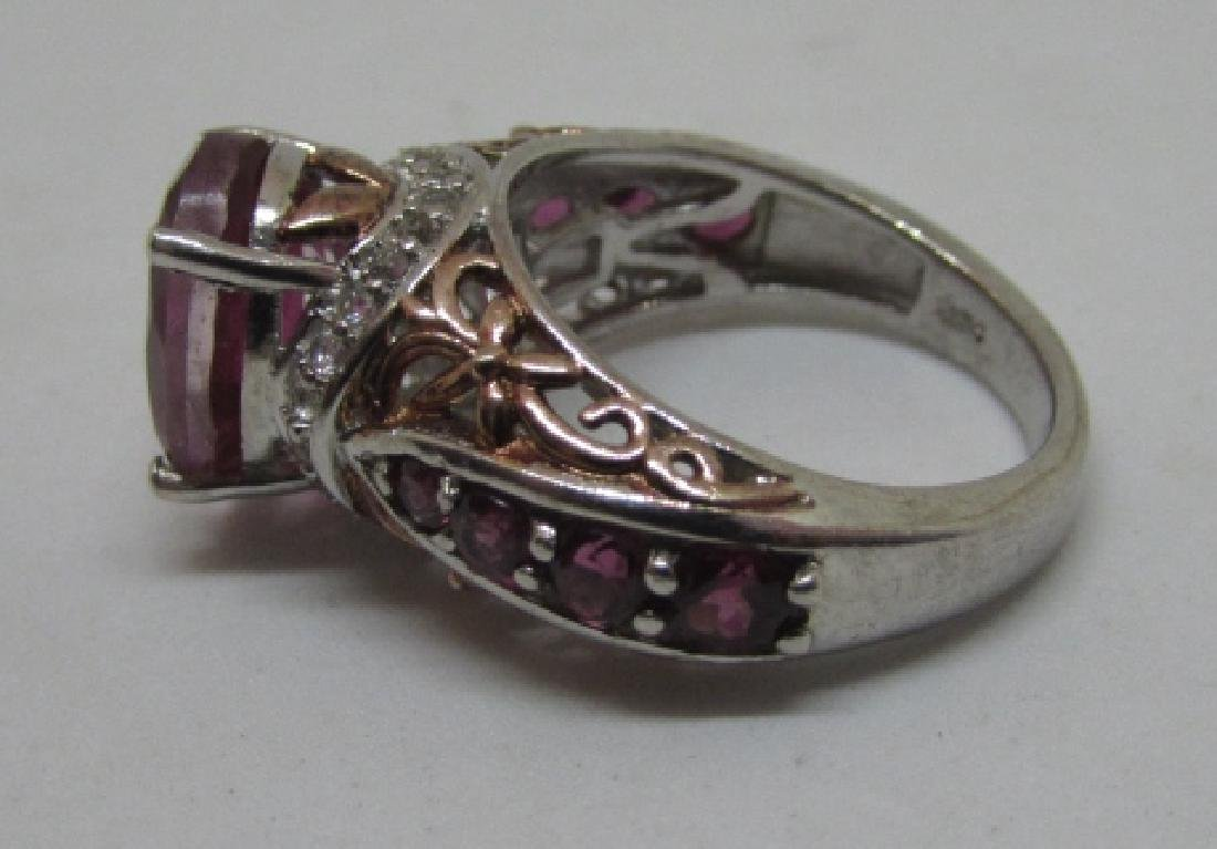 CZ PINK SAPPHIRE RUBY STERLING SILVER RING SIZE 6 - 7