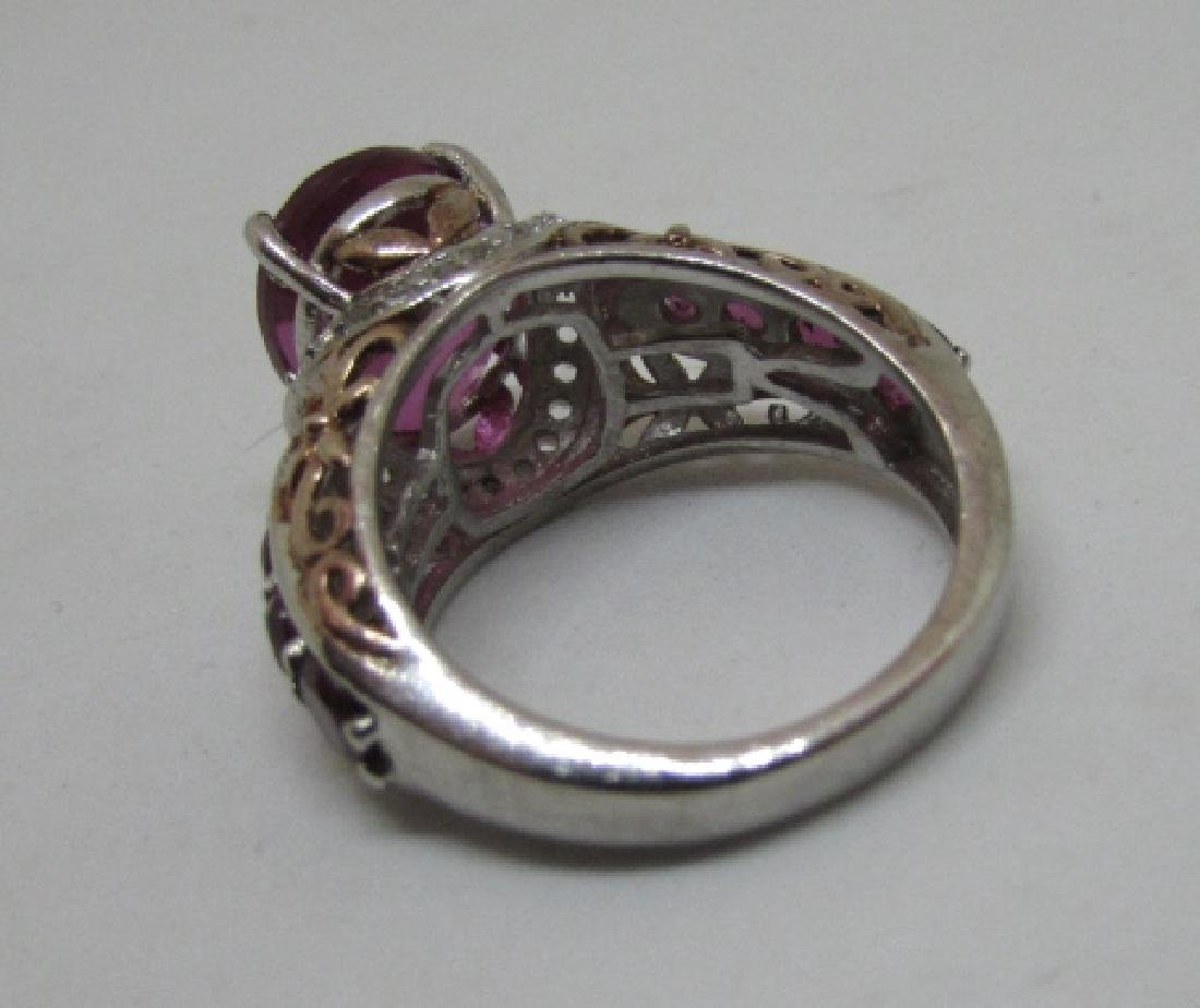CZ PINK SAPPHIRE RUBY STERLING SILVER RING SIZE 6 - 8