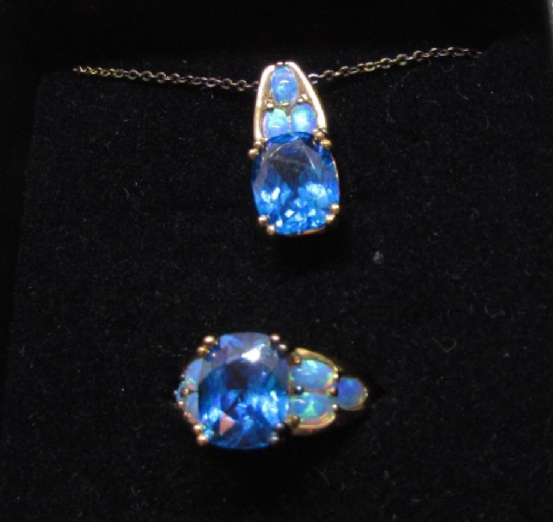 CZ TOPAZ OPAL STERLING SILVER RING & NECKLACE - 3