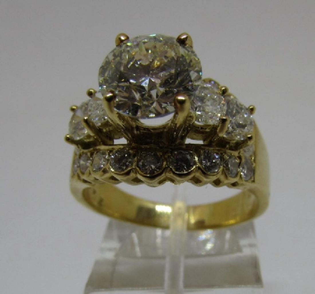 3.5 CARAT DIAMOND RING 2 CARAT ROUND CENTER