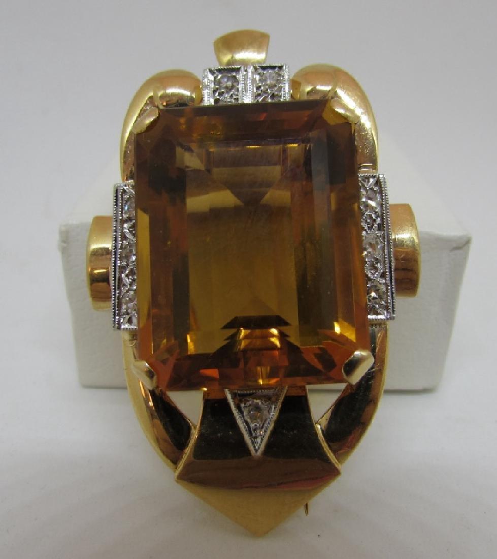 34CT CITRINE DIAMOND 14K GOLD PIN PENDANT CLIP