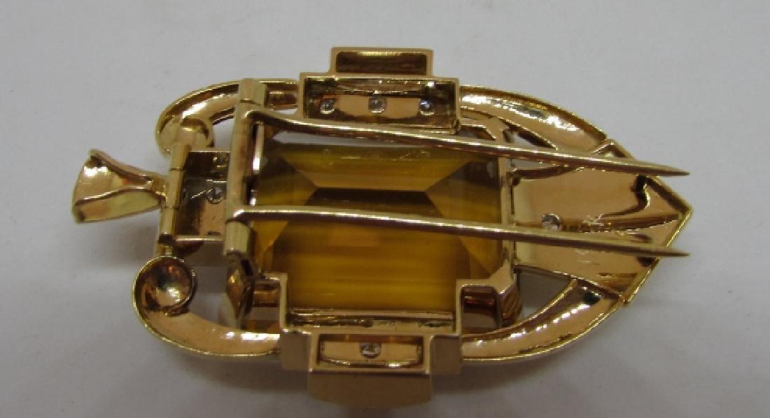34CT CITRINE DIAMOND 14K GOLD PIN PENDANT CLIP - 3