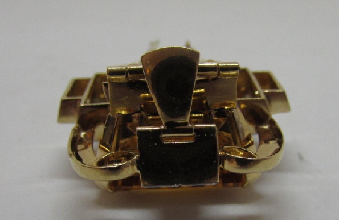34CT CITRINE DIAMOND 14K GOLD PIN PENDANT CLIP - 4
