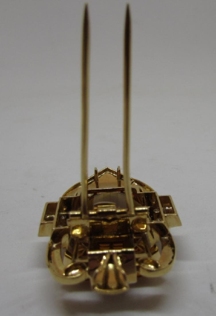 34CT CITRINE DIAMOND 14K GOLD PIN PENDANT CLIP - 5