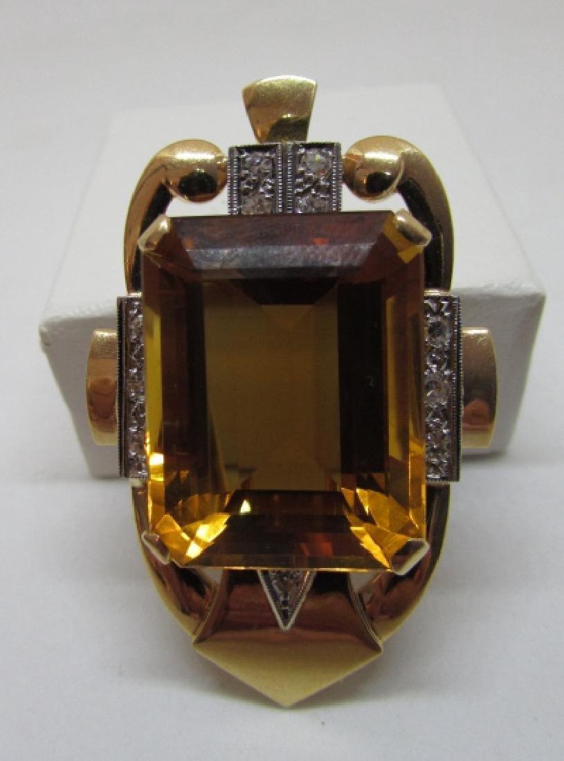 34CT CITRINE DIAMOND 14K GOLD PIN PENDANT CLIP - 6