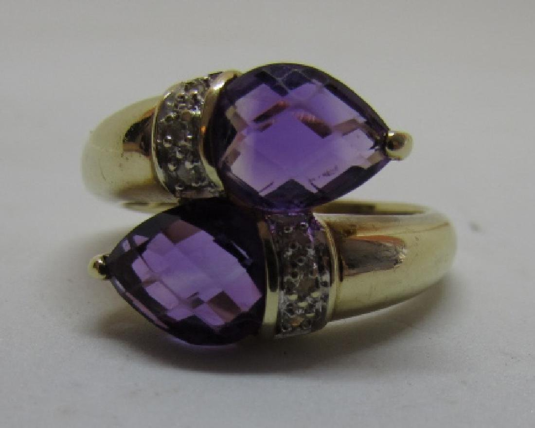 3CT TWIN AMETHYST DIAMOND RING 14K GOLD SIZE 8