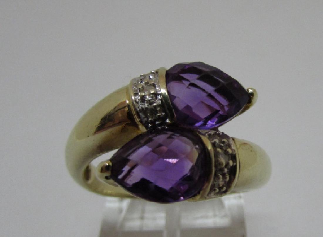 3CT TWIN AMETHYST DIAMOND RING 14K GOLD SIZE 8 - 2