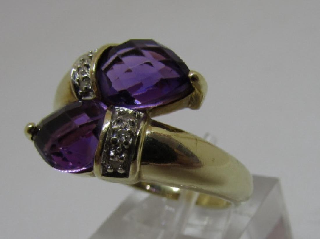 3CT TWIN AMETHYST DIAMOND RING 14K GOLD SIZE 8 - 3
